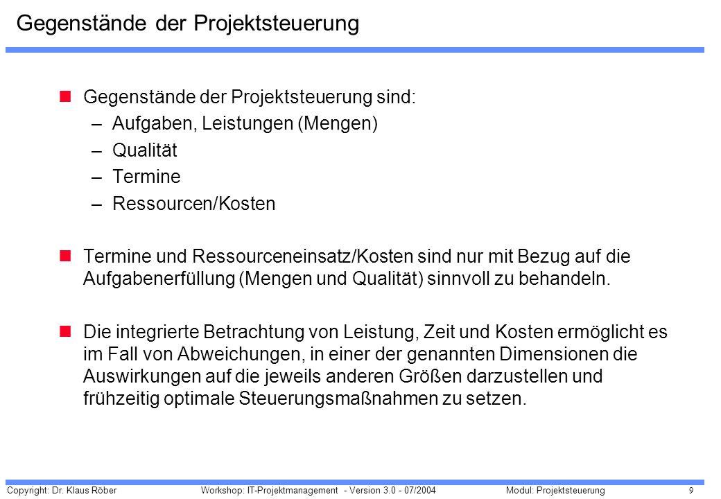 Copyright: Dr. Klaus Röber 9 Workshop: IT-Projektmanagement - Version 3.0 - 07/2004Modul: Projektsteuerung Gegenstände der Projektsteuerung Gegenständ
