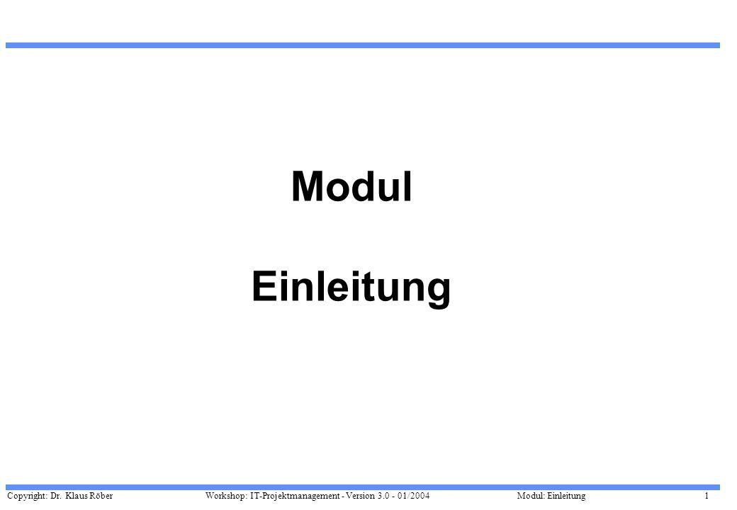 Copyright: Dr. Klaus Röber 1 Workshop: IT-Projektmanagement - Version 3.0 - 01/2004Modul: Einleitung Modul Einleitung