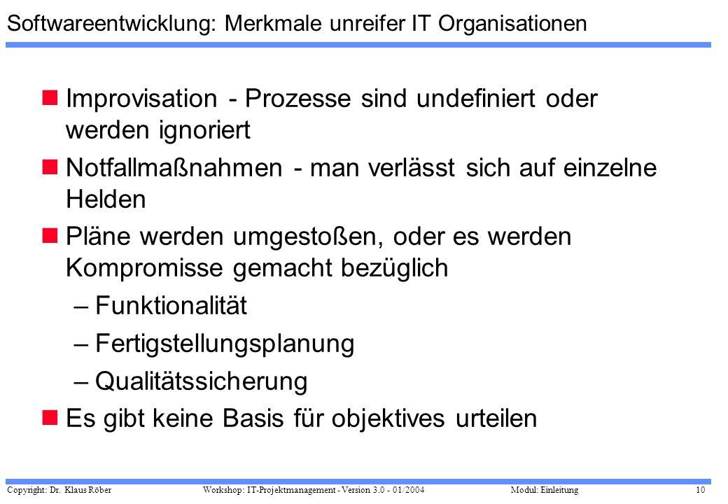 Copyright: Dr. Klaus Röber 10 Workshop: IT-Projektmanagement - Version 3.0 - 01/2004Modul: Einleitung Softwareentwicklung: Merkmale unreifer IT Organi