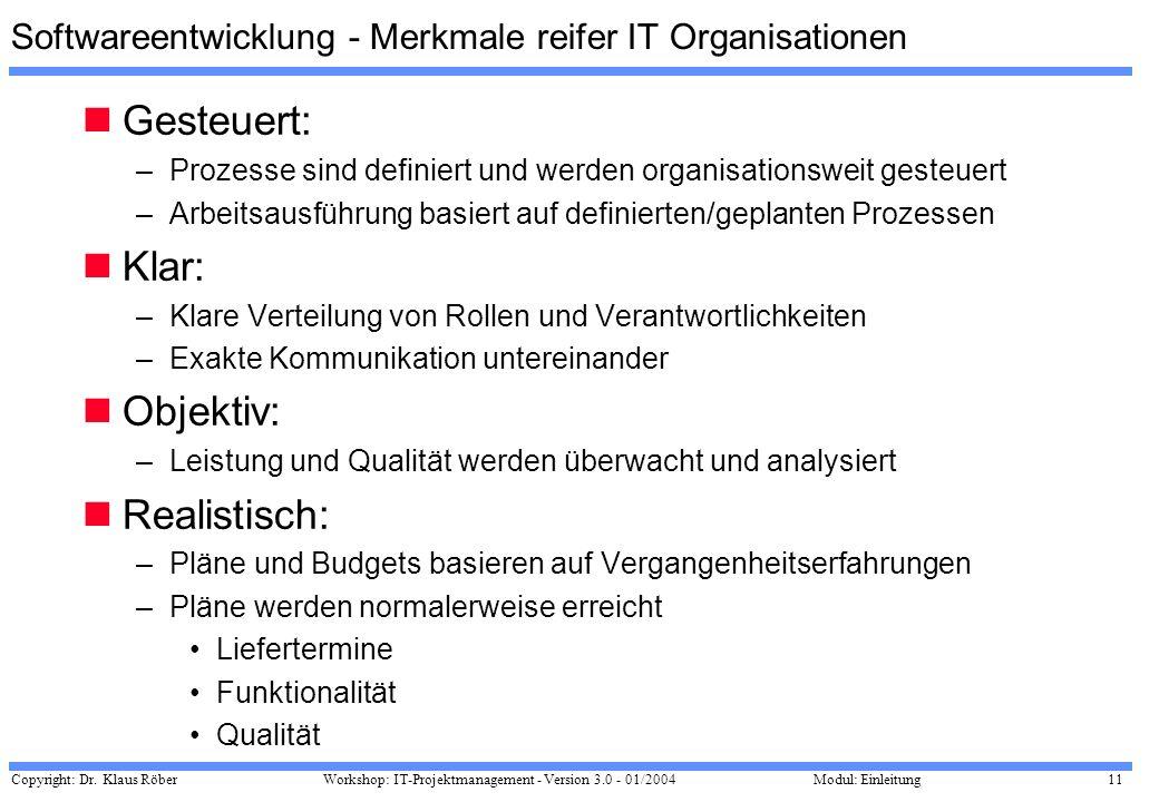 Copyright: Dr. Klaus Röber 11 Workshop: IT-Projektmanagement - Version 3.0 - 01/2004Modul: Einleitung Softwareentwicklung - Merkmale reifer IT Organis