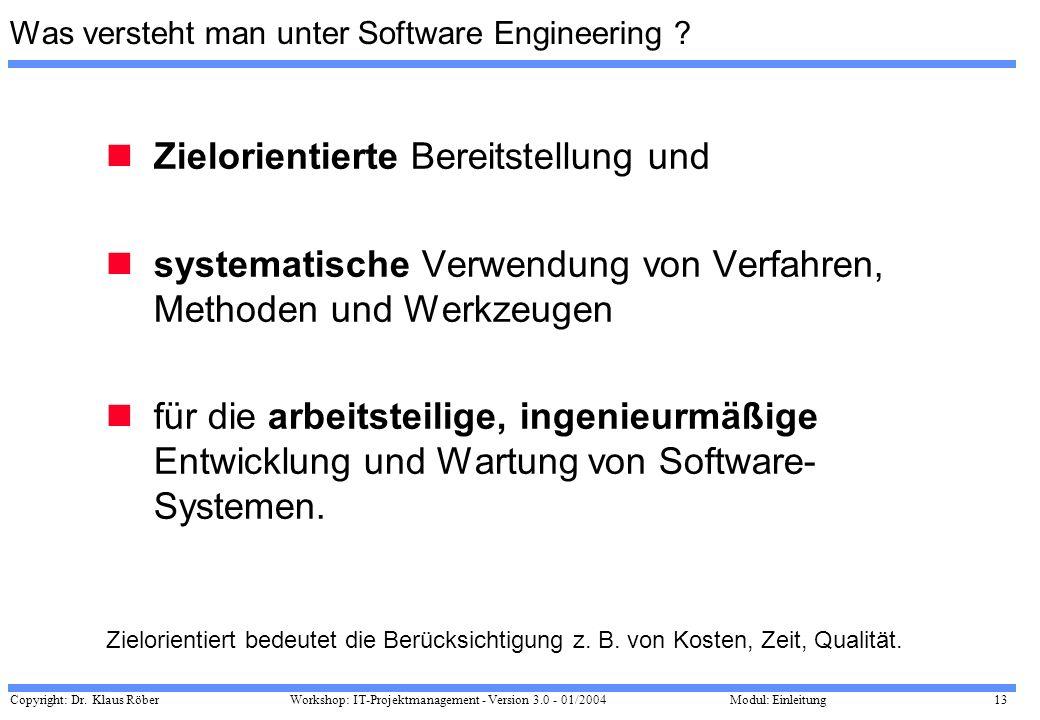 Copyright: Dr. Klaus Röber 13 Workshop: IT-Projektmanagement - Version 3.0 - 01/2004Modul: Einleitung Was versteht man unter Software Engineering ? Zi