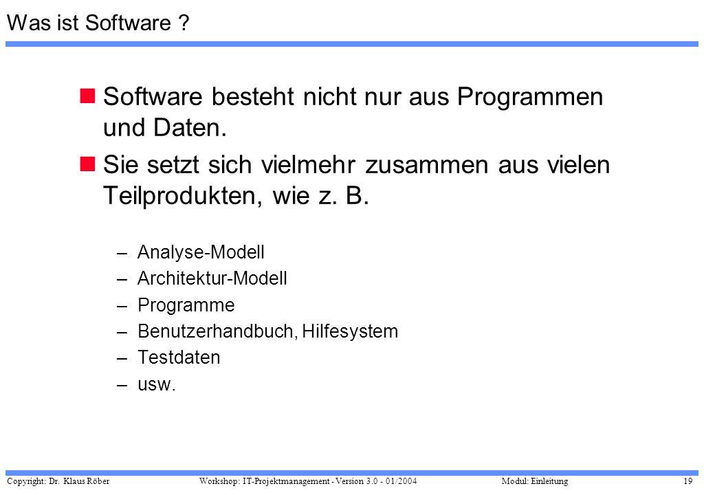 Copyright: Dr. Klaus Röber 19 Workshop: IT-Projektmanagement - Version 3.0 - 01/2004Modul: Einleitung Was ist Software ? Software besteht nicht nur au