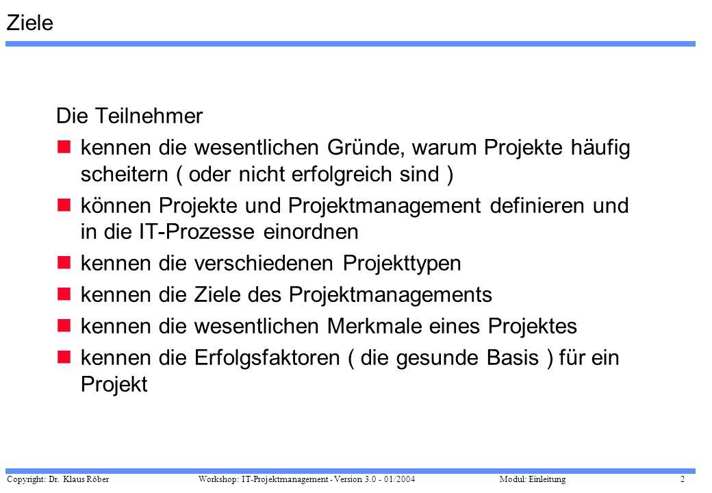 Copyright: Dr. Klaus Röber 2 Workshop: IT-Projektmanagement - Version 3.0 - 01/2004Modul: Einleitung Ziele Die Teilnehmer kennen die wesentlichen Grün