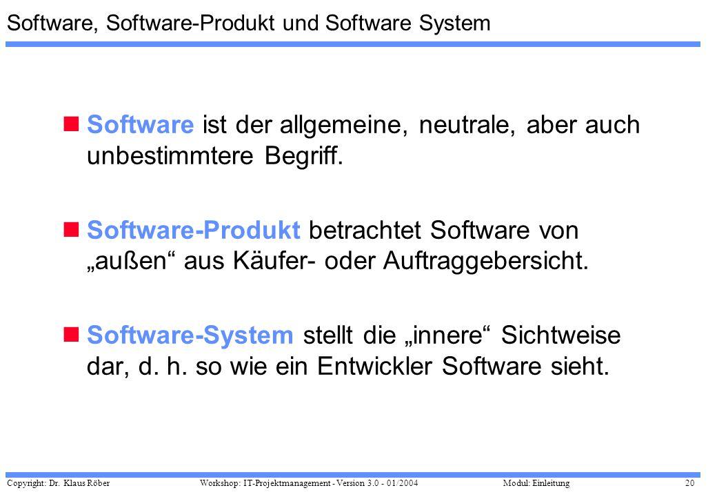 Copyright: Dr. Klaus Röber 20 Workshop: IT-Projektmanagement - Version 3.0 - 01/2004Modul: Einleitung Software, Software-Produkt und Software System S