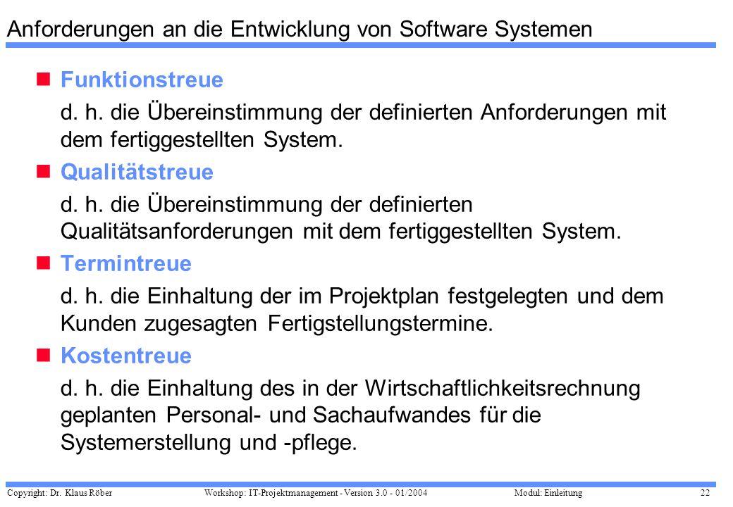 Copyright: Dr. Klaus Röber 22 Workshop: IT-Projektmanagement - Version 3.0 - 01/2004Modul: Einleitung Anforderungen an die Entwicklung von Software Sy