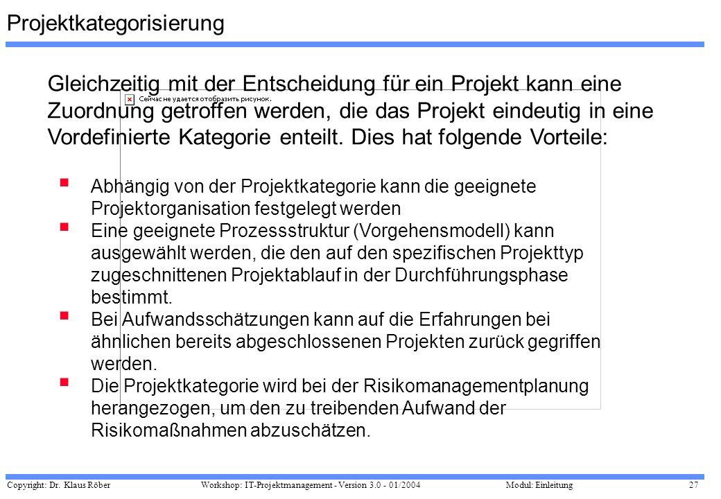 Copyright: Dr. Klaus Röber 27 Workshop: IT-Projektmanagement - Version 3.0 - 01/2004Modul: Einleitung Projektkategorisierung Gleichzeitig mit der Ents