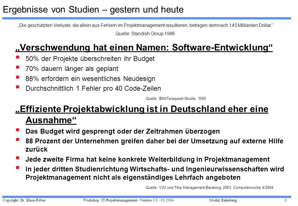 Copyright: Dr. Klaus Röber 3 Workshop: IT-Projektmanagement - Version 3.0 - 01/2004Modul: Einleitung Ergebnisse von Studien – gestern und heute Versch