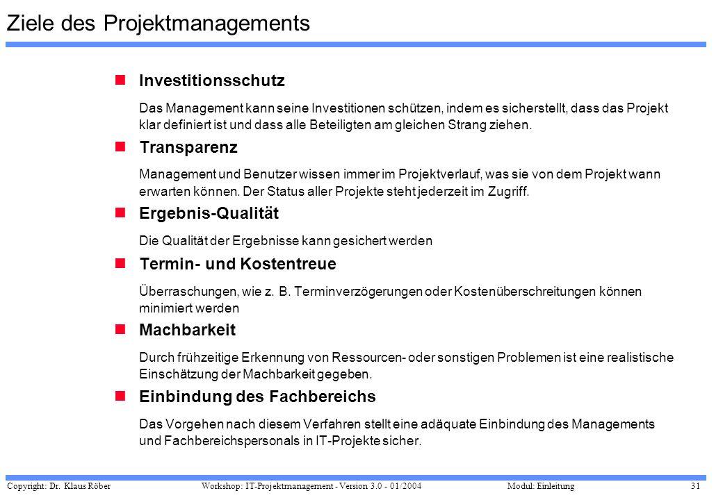 Copyright: Dr. Klaus Röber 31 Workshop: IT-Projektmanagement - Version 3.0 - 01/2004Modul: Einleitung Ziele des Projektmanagements Investitionsschutz
