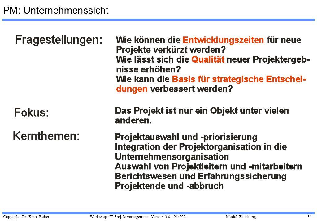 Copyright: Dr. Klaus Röber 33 Workshop: IT-Projektmanagement - Version 3.0 - 01/2004Modul: Einleitung PM: Unternehmenssicht