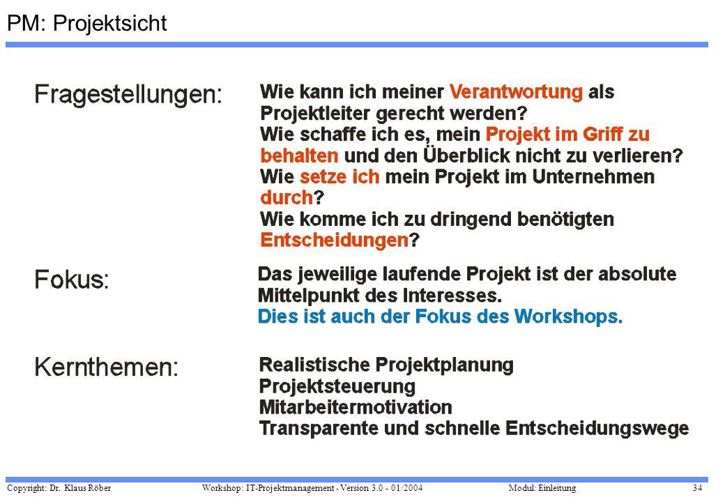 Copyright: Dr. Klaus Röber 34 Workshop: IT-Projektmanagement - Version 3.0 - 01/2004Modul: Einleitung PM: Projektsicht