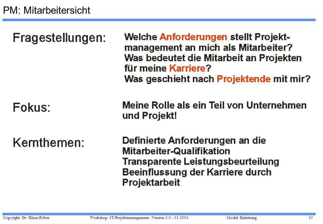 Copyright: Dr. Klaus Röber 35 Workshop: IT-Projektmanagement - Version 3.0 - 01/2004Modul: Einleitung PM: Mitarbeitersicht