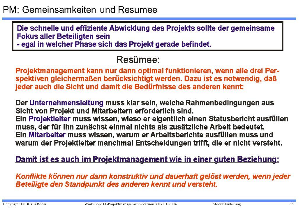 Copyright: Dr. Klaus Röber 36 Workshop: IT-Projektmanagement - Version 3.0 - 01/2004Modul: Einleitung PM: Gemeinsamkeiten und Resumee