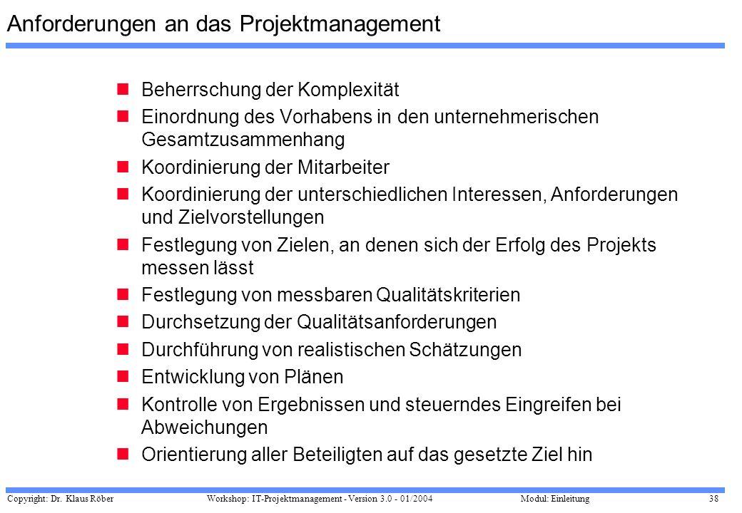 Copyright: Dr. Klaus Röber 38 Workshop: IT-Projektmanagement - Version 3.0 - 01/2004Modul: Einleitung Anforderungen an das Projektmanagement Beherrsch