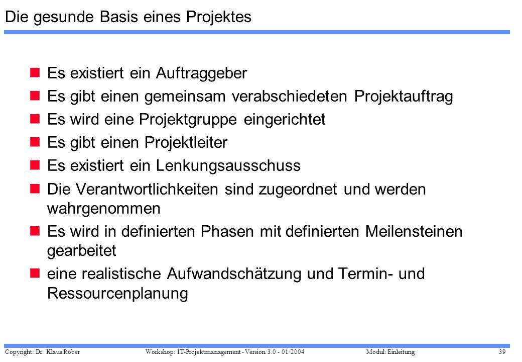 Copyright: Dr. Klaus Röber 39 Workshop: IT-Projektmanagement - Version 3.0 - 01/2004Modul: Einleitung Die gesunde Basis eines Projektes Es existiert e