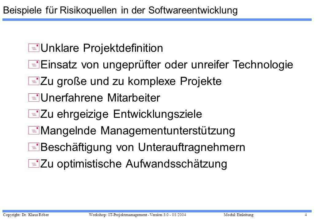 Copyright: Dr. Klaus Röber 4 Workshop: IT-Projektmanagement - Version 3.0 - 01/2004Modul: Einleitung +Unklare Projektdefinition +Einsatz von ungeprüft