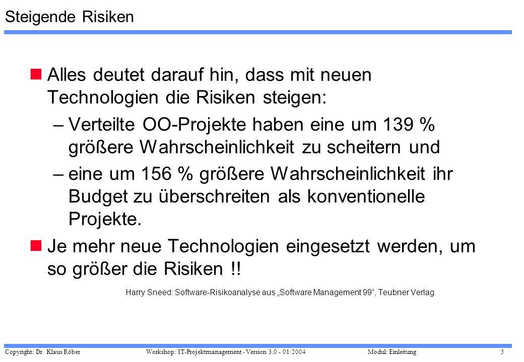 Copyright: Dr. Klaus Röber 5 Workshop: IT-Projektmanagement - Version 3.0 - 01/2004Modul: Einleitung Steigende Risiken Alles deutet darauf hin, dass m