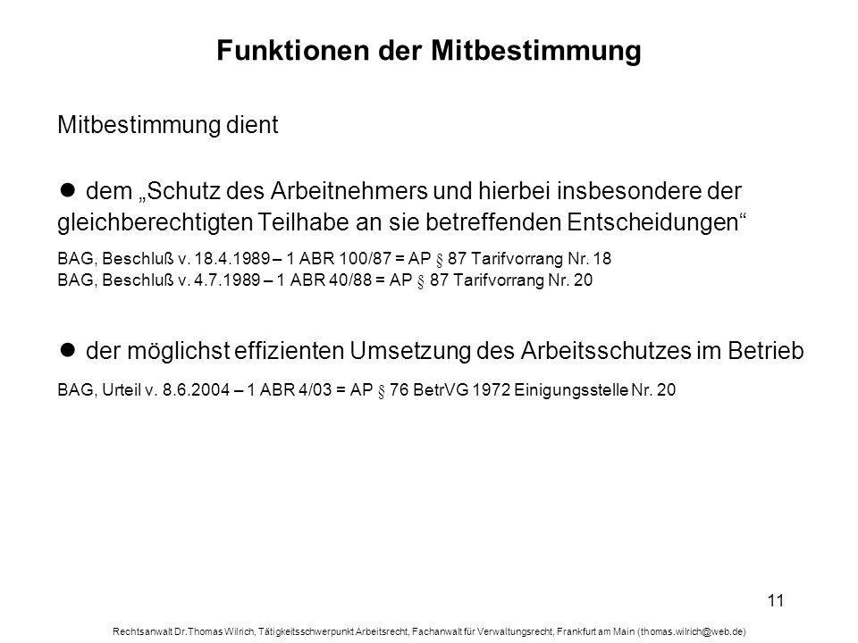 Rechtsanwalt Dr.Thomas Wilrich, Tätigkeitsschwerpunkt Arbeitsrecht, Fachanwalt für Verwaltungsrecht, Frankfurt am Main (thomas.wilrich@web.de) 11 Funk