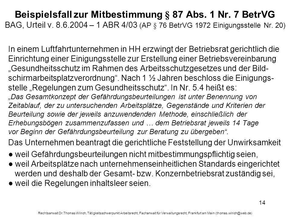 Rechtsanwalt Dr.Thomas Wilrich, Tätigkeitsschwerpunkt Arbeitsrecht, Fachanwalt für Verwaltungsrecht, Frankfurt am Main (thomas.wilrich@web.de) 14 Beis
