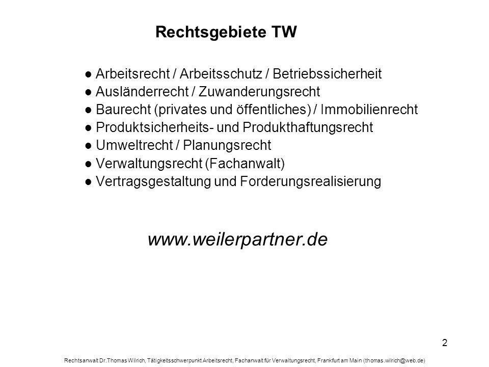 Rechtsanwalt Dr.Thomas Wilrich, Tätigkeitsschwerpunkt Arbeitsrecht, Fachanwalt für Verwaltungsrecht, Frankfurt am Main (thomas.wilrich@web.de) 3 Unternehmerfreiheit Organisations- und Direktionsrecht im Arbeitsrecht § 106 GewO seit 1.1.2003: Der Arbeitgeber kann Inhalt, Ort und Zeit der Arbeitsleistung nach billigem Ermessen näher bestimmen, soweit diese Arbeitsbedingungen nicht durch den Arbeitsvertrag, Bestimmungen einer Betriebsvereinbarung, eines anwendbaren Tarifvertrages oder gesetzliche Vorschriften festgelegt sind.