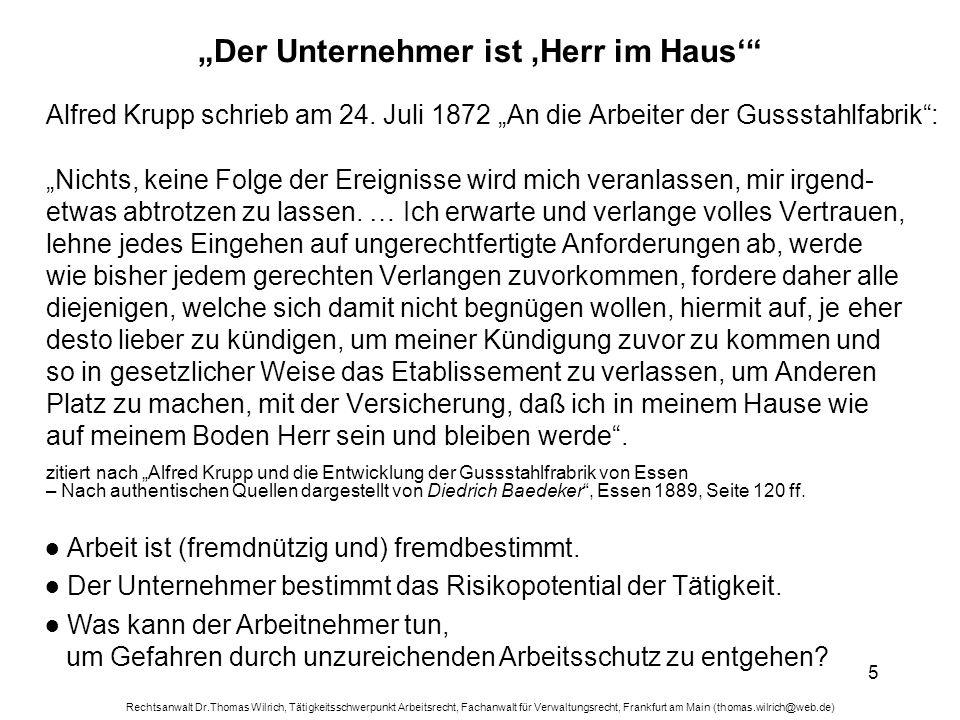Rechtsanwalt Dr.Thomas Wilrich, Tätigkeitsschwerpunkt Arbeitsrecht, Fachanwalt für Verwaltungsrecht, Frankfurt am Main (thomas.wilrich@web.de) 16 Was bedeutet Mitbestimmung.