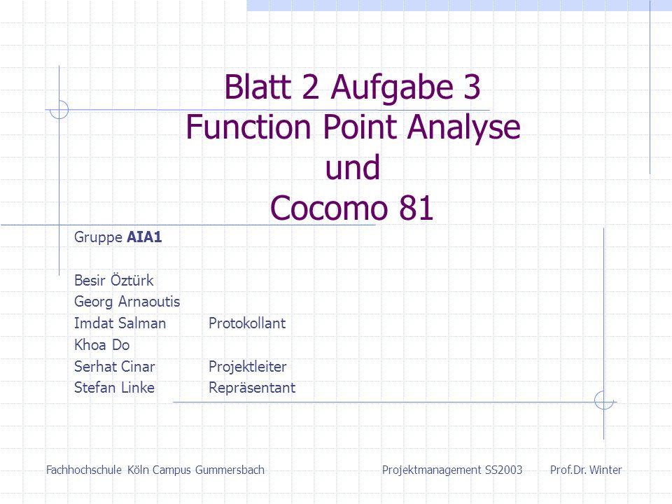 Blatt 2 Aufgabe 3 Function Point Analyse und Cocomo 81 Gruppe AIA1 Besir Öztürk Georg Arnaoutis Imdat SalmanProtokollant Khoa Do Serhat CinarProjektle