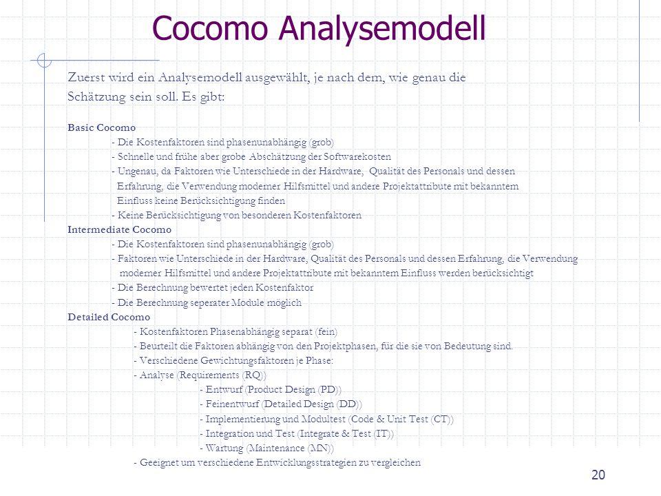 20 Cocomo Analysemodell Zuerst wird ein Analysemodell ausgewählt, je nach dem, wie genau die Schätzung sein soll. Es gibt: Basic Cocomo - Die Kostenfa