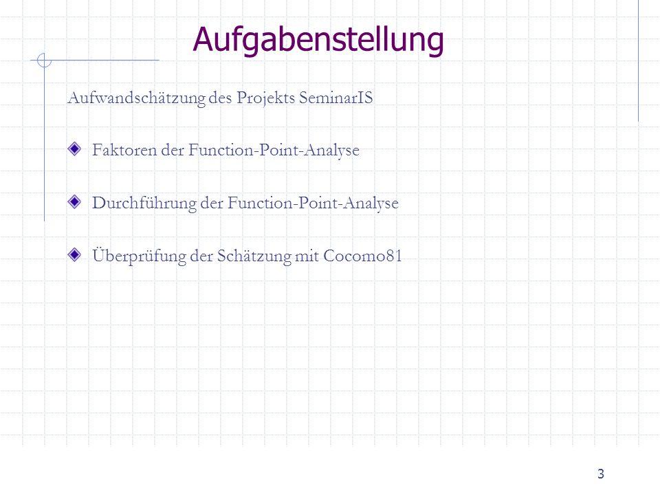 3 Aufgabenstellung Aufwandschätzung des Projekts SeminarIS Faktoren der Function-Point-Analyse Durchführung der Function-Point-Analyse Überprüfung der