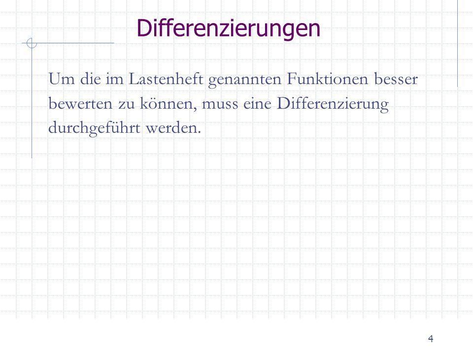 4 Differenzierungen Um die im Lastenheft genannten Funktionen besser bewerten zu können, muss eine Differenzierung durchgeführt werden.