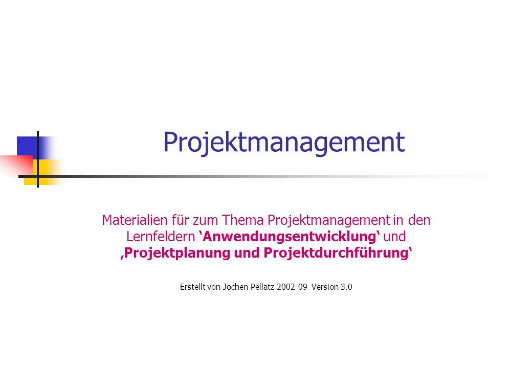 Projektmanagement Materialien für zum Thema Projektmanagement in den Lernfeldern Anwendungsentwicklung und Projektplanung und Projektdurchführung Erst