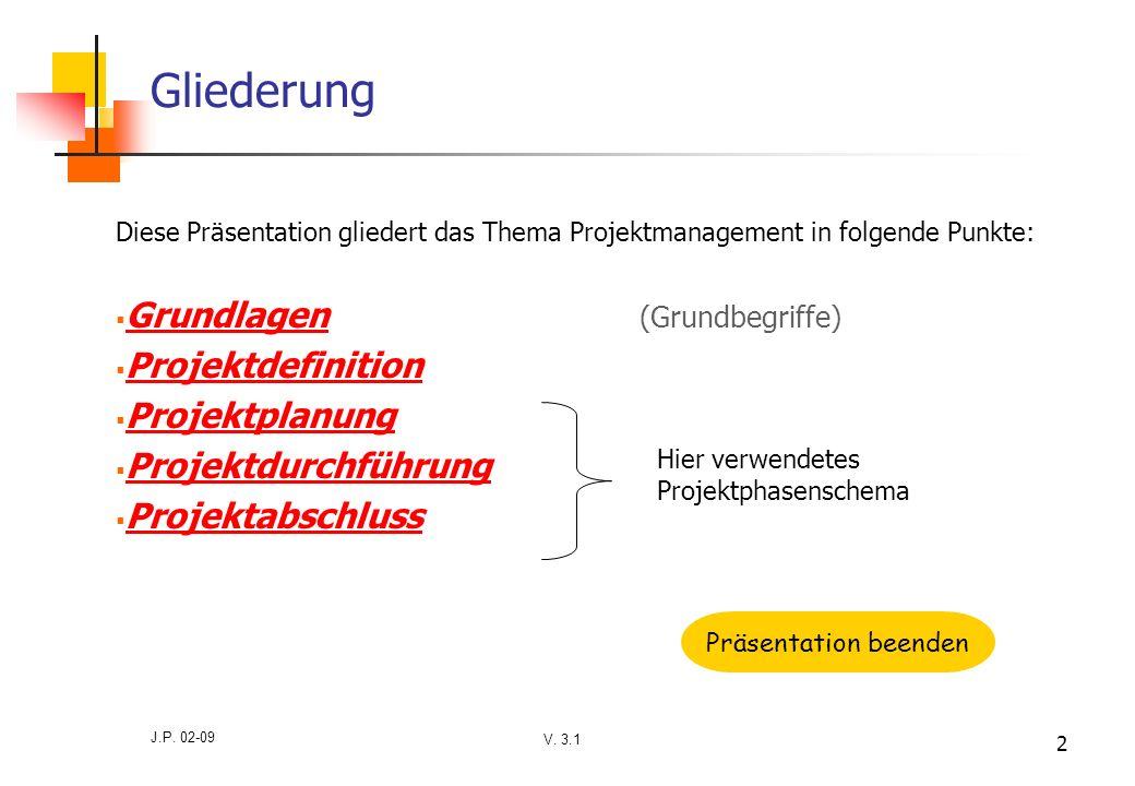V. 3.1 J.P. 02-09 2 Gliederung Diese Präsentation gliedert das Thema Projektmanagement in folgende Punkte: Grundlagen (Grundbegriffe) Grundlagen Proje