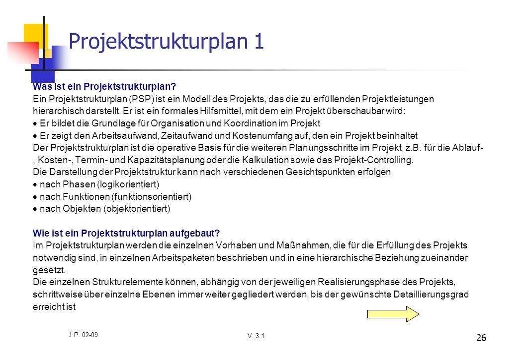 V. 3.1 J.P. 02-09 26 Projektstrukturplan 1 Was ist ein Projektstrukturplan? Ein Projektstrukturplan (PSP) ist ein Modell des Projekts, das die zu erfü