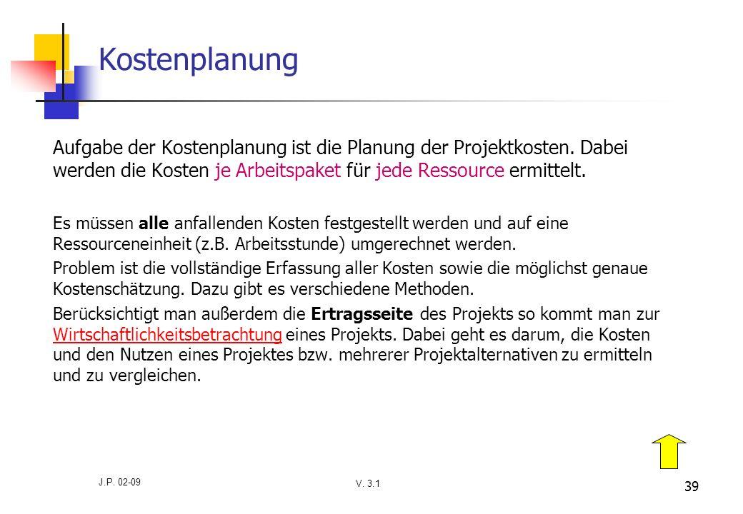 V. 3.1 J.P. 02-09 39 Kostenplanung Aufgabe der Kostenplanung ist die Planung der Projektkosten. Dabei werden die Kosten je Arbeitspaket für jede Resso