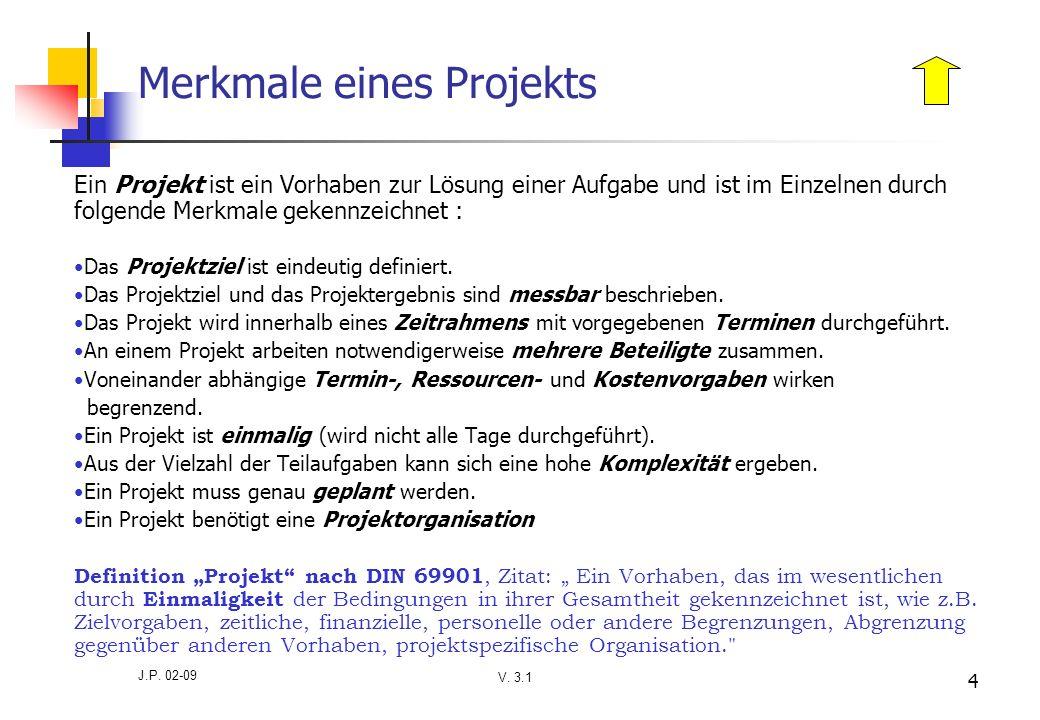 V. 3.1 J.P. 02-09 4 Merkmale eines Projekts Ein Projekt ist ein Vorhaben zur Lösung einer Aufgabe und ist im Einzelnen durch folgende Merkmale gekennz