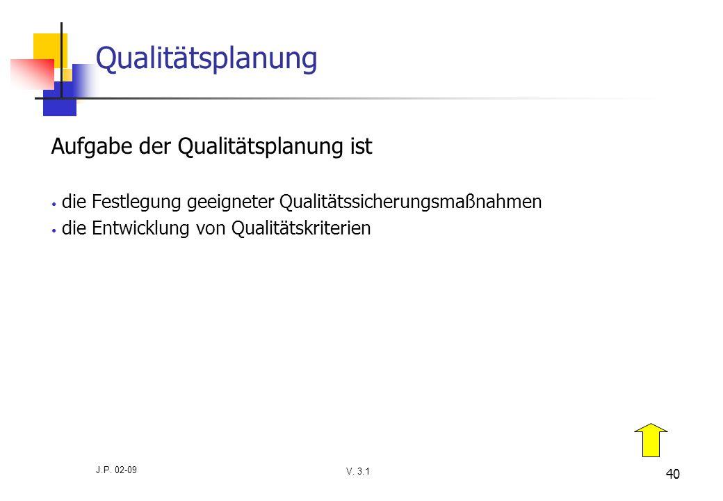 V. 3.1 J.P. 02-09 40 Qualitätsplanung Aufgabe der Qualitätsplanung ist die Festlegung geeigneter Qualitätssicherungsmaßnahmen die Entwicklung von Qual