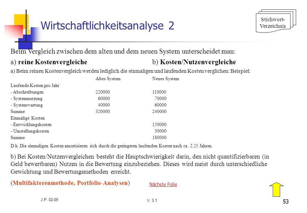 V. 3.1 J.P. 02-09 53 Wirtschaftlichkeitsanalyse 2 Beim Vergleich zwischen dem alten und dem neuen System unterscheidet man: a) reine Kostenvergleicheb