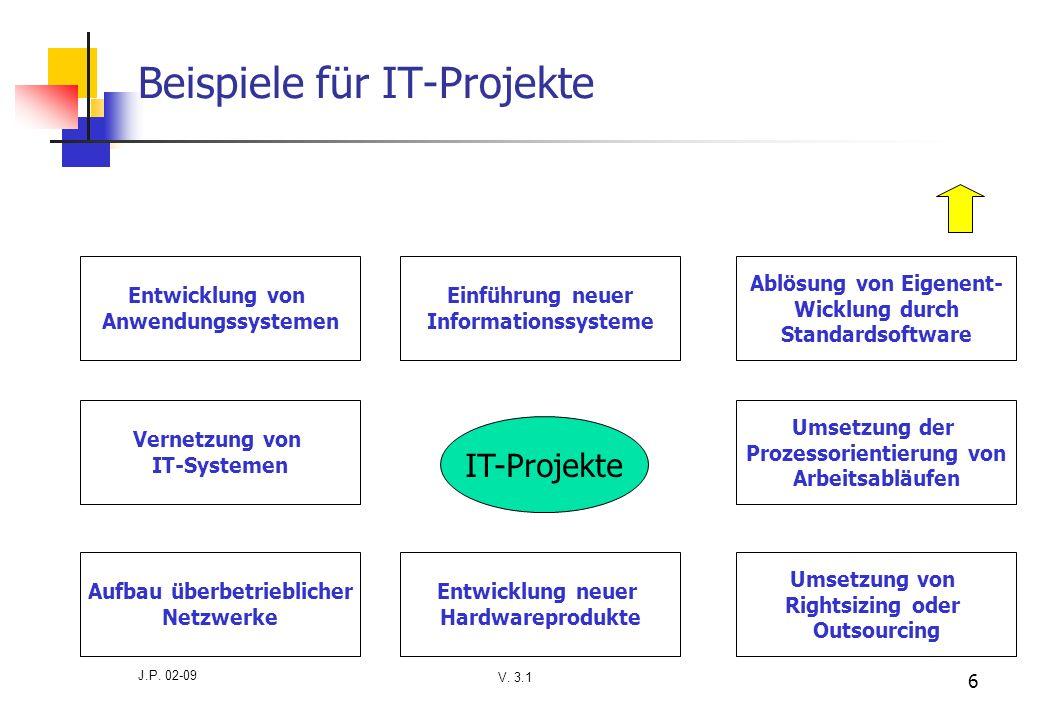 V. 3.1 J.P. 02-09 6 Beispiele für IT-Projekte IT-Projekte Entwicklung von Anwendungssystemen Einführung neuer Informationssysteme Ablösung von Eigenen