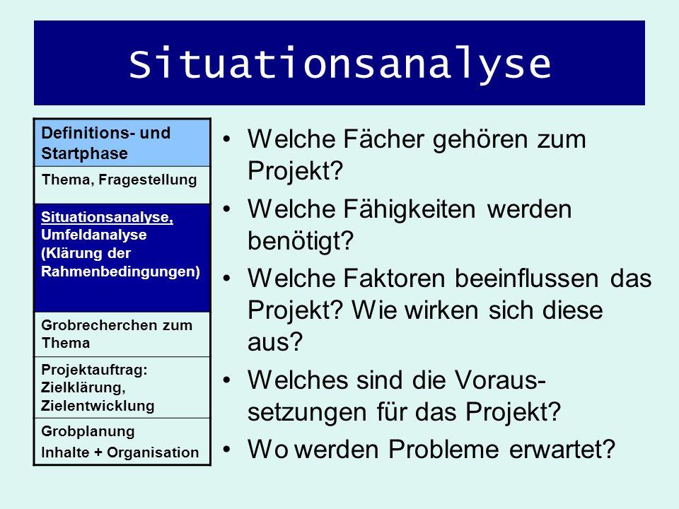 Situationsanalyse Welche Fächer gehören zum Projekt? Welche Fähigkeiten werden benötigt? Welche Faktoren beeinflussen das Projekt? Wie wirken sich die