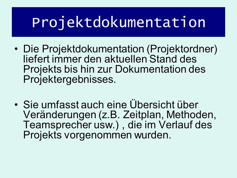 Die Projektdokumentation (Projektordner) liefert immer den aktuellen Stand des Projekts bis hin zur Dokumentation des Projektergebnisses. Sie umfasst
