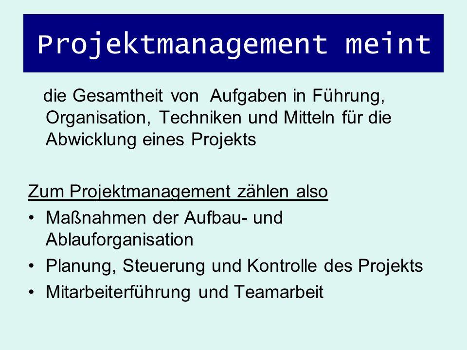 Projektmanagement meint die Gesamtheit von Aufgaben in Führung, Organisation, Techniken und Mitteln für die Abwicklung eines Projekts Zum Projektmanag