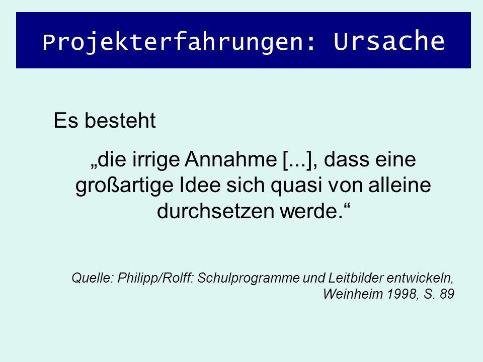 Projekterfahrungen: Ursache Es besteht die irrige Annahme [...], dass eine großartige Idee sich quasi von alleine durchsetzen werde. Quelle: Philipp/R