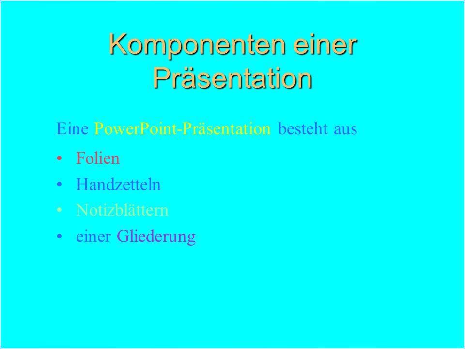 Komponenten einer Präsentation Eine PowerPoint-Präsentation besteht aus Folien Handzetteln Notizblättern einer Gliederung