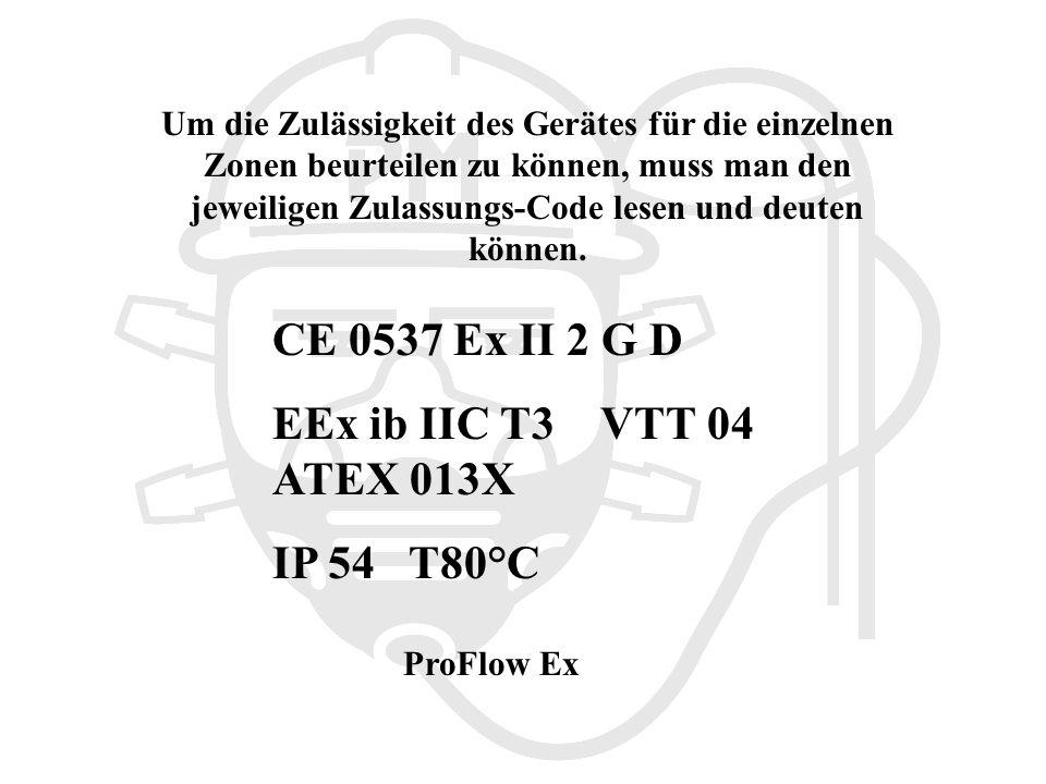 Um die Zulässigkeit des Gerätes für die einzelnen Zonen beurteilen zu können, muss man den jeweiligen Zulassungs-Code lesen und deuten können.