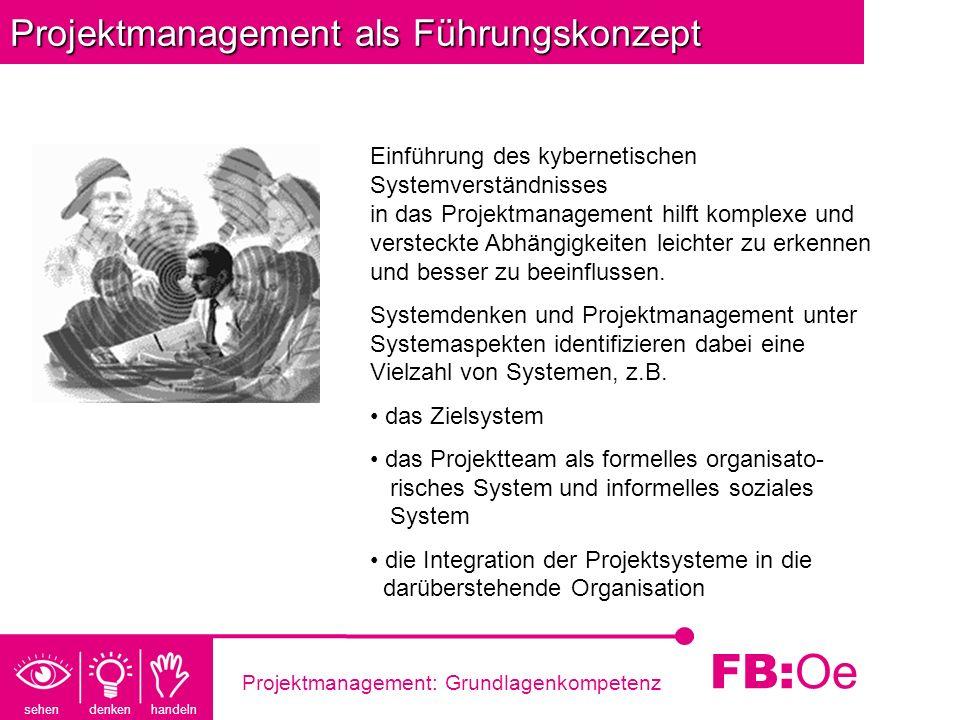 sehen denken handeln FB: Oe Projektmanagement: Grundlagenkompetenz Projektmanagement als Führungskonzept Einführung des kybernetischen Systemverständn