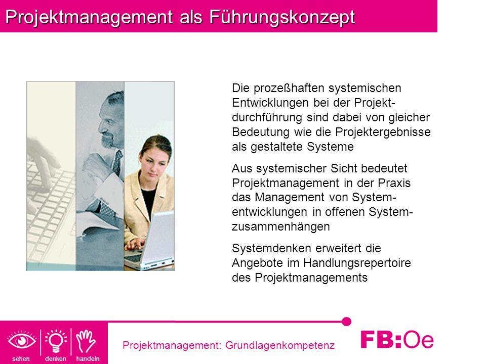 sehen denken handeln FB: Oe Projektmanagement: Grundlagenkompetenz Projektmanagement als Führungskonzept Die prozeßhaften systemischen Entwicklungen b