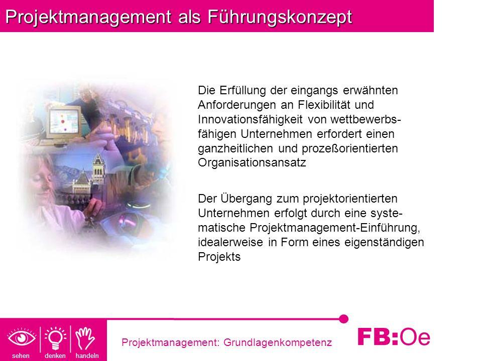 sehen denken handeln FB: Oe Projektmanagement: Grundlagenkompetenz Projektmanagement als Führungskonzept Die Erfüllung der eingangs erwähnten Anforder