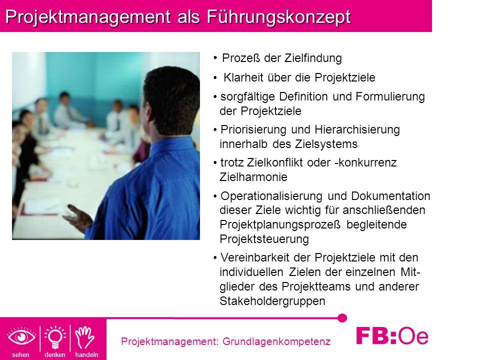 sehen denken handeln FB: Oe Projektmanagement: Grundlagenkompetenz Projektmanagement als Führungskonzept Prozeß der Zielfindung Klarheit über die Proj