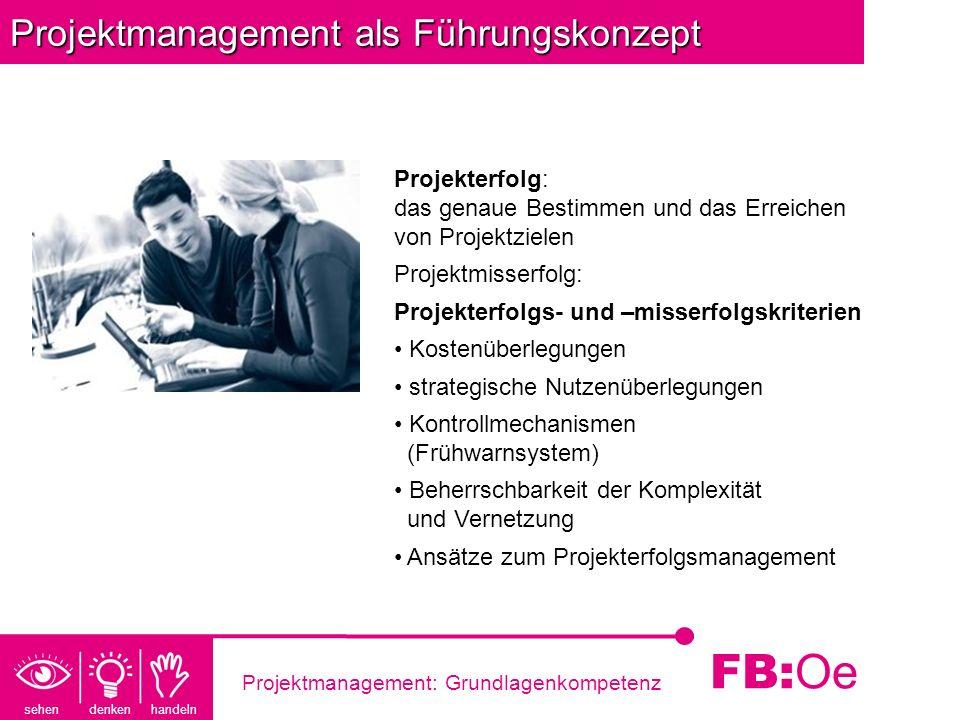 sehen denken handeln FB: Oe Projektmanagement: Grundlagenkompetenz Projektmanagement als Führungskonzept Projekterfolg: das genaue Bestimmen und das E