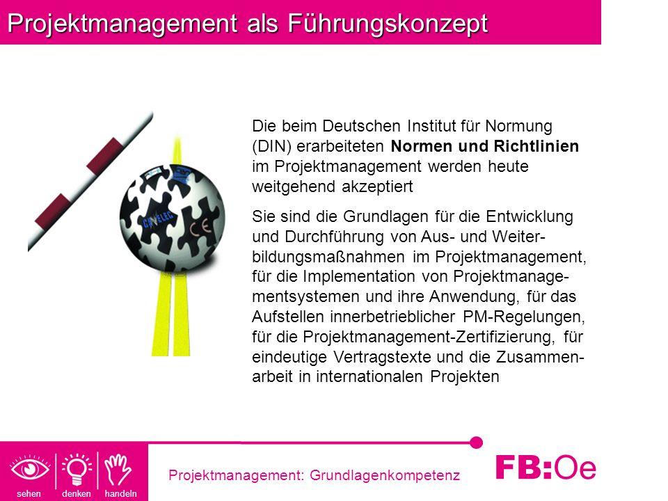 sehen denken handeln FB: Oe Projektmanagement: Grundlagenkompetenz Projektmanagement als Führungskonzept Die beim Deutschen Institut für Normung (DIN)