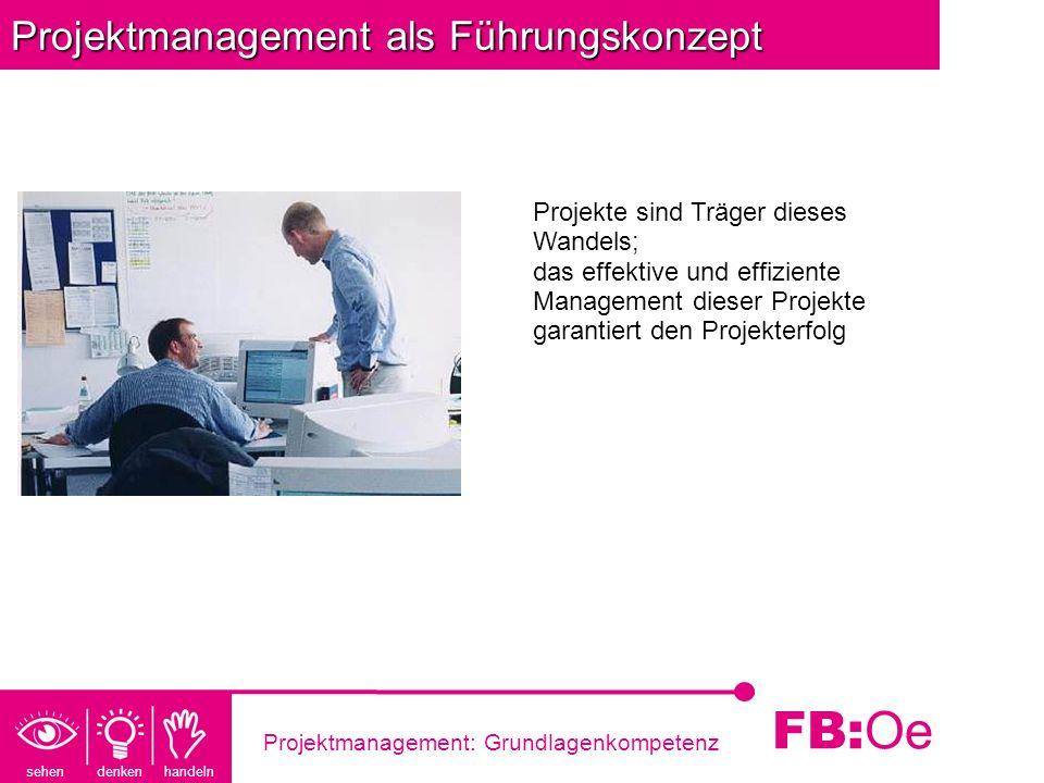 sehen denken handeln FB: Oe Projektmanagement: Grundlagenkompetenz Projektmanagement als Führungskonzept Projekte sind Träger dieses Wandels; das effe