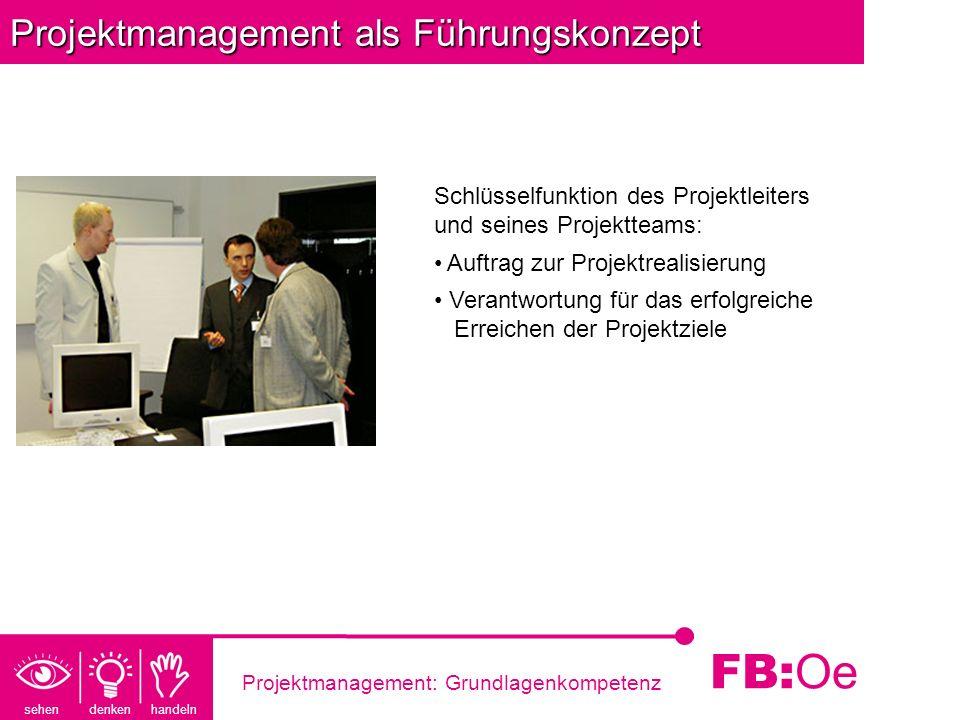 sehen denken handeln FB: Oe Projektmanagement: Grundlagenkompetenz Projektmanagement als Führungskonzept Schlüsselfunktion des Projektleiters und sein